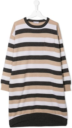 BRUNELLO CUCINELLI KIDS TEEN striped sweatshirt dress