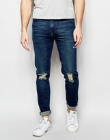 Asos Skinny Jeans In Tinted Dark Wash With Rips