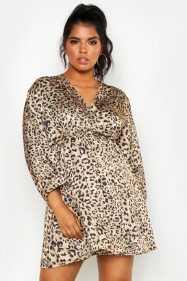 boohoo Plus Satin Leopard Print Wrap Dress