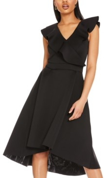 Quiz Ruffle V-Neck Midi Dress