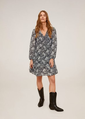 MANGO Flowy printed dress off white - 2 - Women