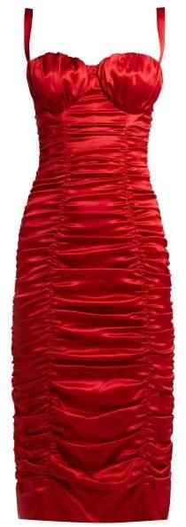 Dolce & Gabbana Ruched Silk Blend Satin Midi Dress - Womens - Red