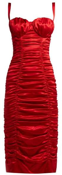 Dolce & Gabbana Ruched Silk Blend Satin Midi Dress - Womens - Red