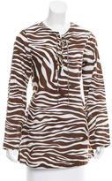 Michael Kors Zebra Lace-Up Top