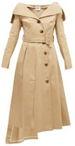 A.W.A.K.E. Mode Off-the-shoulder Cotton Trench Coat - Womens - Beige