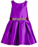 Zoe Sleeveless Belted Taffeta Party Dress, Purple, 7-16