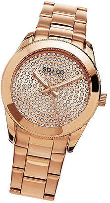 So & Co SO & CO Ny Women'S Madison Stainless Steel Bracelet Gold Tone Crystal Filled Dial Dress Quartz Watch J155P49 Family