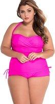 CHENGYANG Women Strapped Bikini Set Swimsuit Ruched Bandeau Tankinis Plus Size 2XL