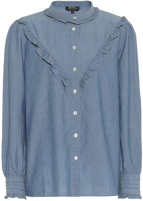 A.P.C. Polly ruffled chambray blouse