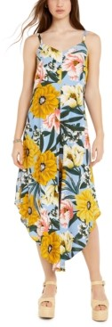 Just Hanging Juniors' Floral-Print Asymmetrical-Hem Cropped Jumpsuit