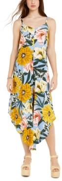 MSK Juniors' Floral-Print Asymmetrical-Hem Cropped Jumpsuit