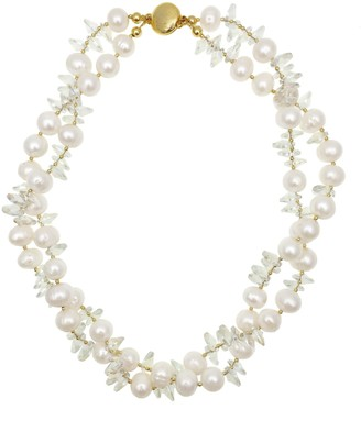 Farra Freshwater Pearl & Crystal Double Strands Short Necklace