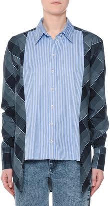 Stella McCartney Plaid & Striped Mixed-Print Button-Down Oxford Shirt