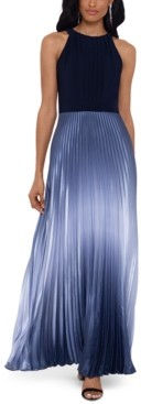 Betsy & Adam Pleated Ombre Halter Gown