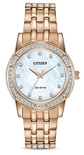 Citizen Silhouette Crystal Embellished Rose Gold-Tone Watch 31mm