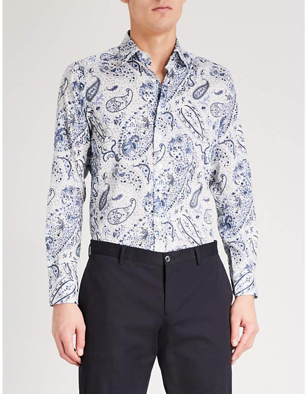 Etro Paisley-print slim-fit cotton shirt