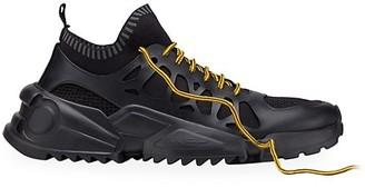 Salvatore Ferragamo Raintop Mixed-Media Low-Top Sneakers