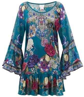 Camilla Lunar Gazing-print Ruffled Silk-crepe Dress - Green Print