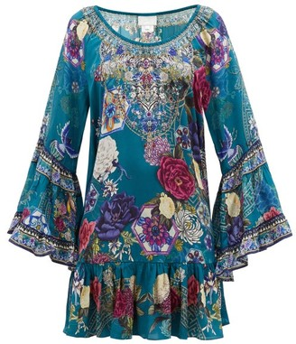 Camilla Lunar Gazing-print Ruffled Silk-crepe Dress - Womens - Green Print