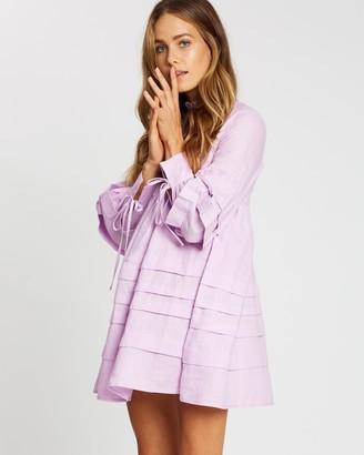 AERE - Women's Purple Mini Dresses - Pleat Detail Linen Smock Dress - Size 6 at The Iconic