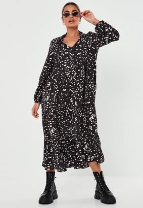 Missguided Petite Black Dalmatian Tiered Maxi Smock Dress