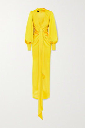 Alex Perry Dane Gathered Draped Satin-crepe Gown - Yellow