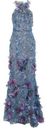 Marchesa Floral-appliqued Metallic Embroidered Tulle Gown