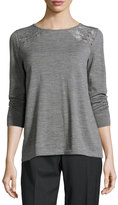 Lafayette 148 New York Embroidered Bateau-Neck Sweater, Nickel