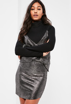 Missguided Silver Metallic Textured Curve Hem Mini Skirt