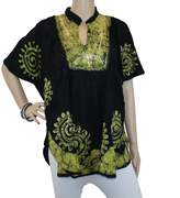 Mojeska Batik Embroidered V-Neck Batwing Poncho Blouse