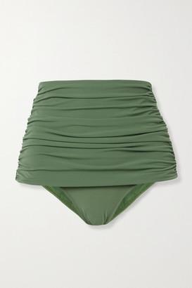 Norma Kamali Bill Ruched Bikini Briefs - Green
