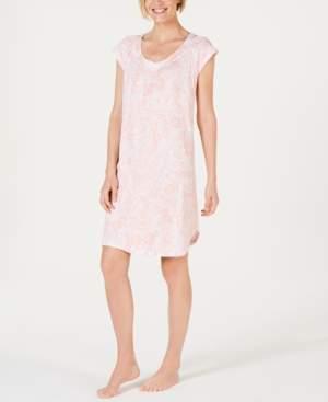 Miss Elaine Batik Paisley-Print Jersey Knit Nightgown