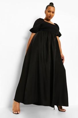 boohoo Plus Shirred Detail Maxi Dress
