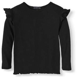Derek Heart Long Sleeve Ribbed Ruffle T-Shirt (Little Girls & Big Girls)