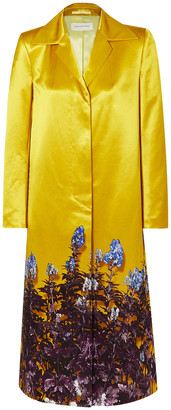 Dries Van Noten Rye Floral-print Cotton-blend Satin Coat