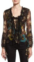 Etro Floral Lace-Trim Ruffled Blouse, Turquoise/Green