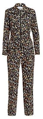 Carolina Ritzler Women's Leopard Print Cargo Jumpsuit