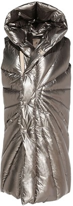 Moncler + Rick Owens Hooded Metallic Nylon Down Vest