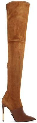 Balmain Amazone Leather-paneled Stretch-suede Thigh Boots