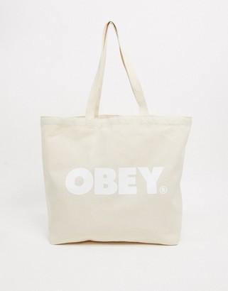Obey bold logo tote bag in white