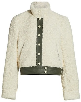 Tanya Taylor Remy Snap-Button Curly Faux Shearling Jacket