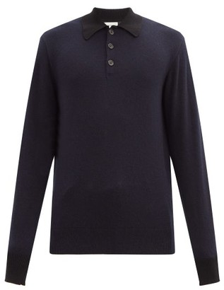 Oliver Spencer Pablo Wool Long-sleeve Polo Shirt - Mens - Navy