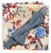 Original Penguin Three-Piece Textured Bow-Tie, Lapel Pin & Floral Printed Pocket Square Set