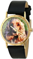 Whimsical Watches Kids' P0130027 Classic Cocker Spaniel Black Leather And Goldtone Photo Watch