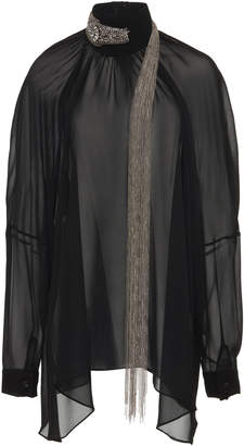 Christopher Kane Bead-Embellished Silk Chiffon Blouse