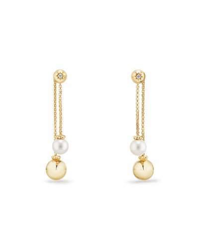 David Yurman Solari Chain Drop Cluster Earrings with Diamonds & Pearls