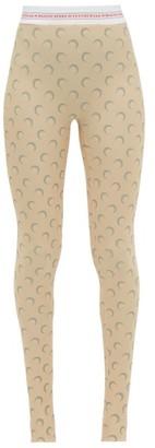 Marine Serre Reflective Crescent Moon Print Leggings - Womens - Beige Multi