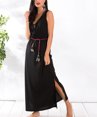 Milan Kiss Women's Casual Dresses BLACK - Black Lace-Accent Side-Slit Belted Maxi Dress - Women