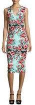 Fuzzi Sleeveless Floral-Print Sheath Dress, Multi