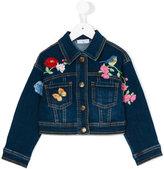 MonnaLisa floral embroidered denim jacket - kids - Cotton/Polyester/Spandex/Elastane - 9 yrs